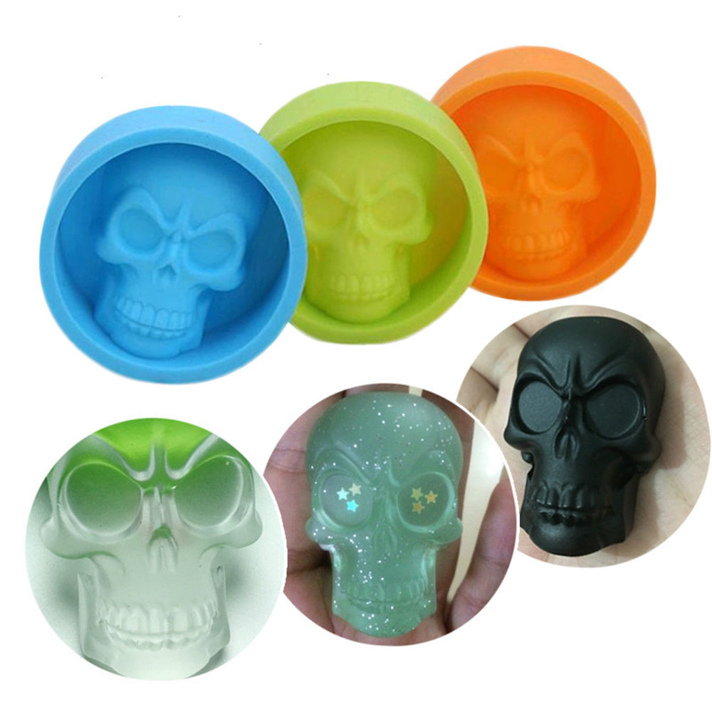 Silicone Mold 6*6*2cm Creative 3D Skull Ice Muffin Cup Cake Fondant Pudding Chocolate Jelly Sugarcraft Decorating Tool