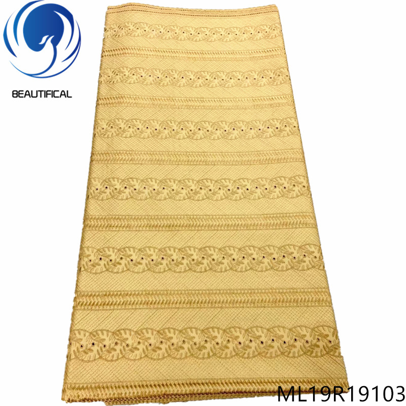 BEAUTIFICAL Gold Swiss Lace 5 Yards For Men 2019 New Cotton Dry Lace Hig Quality ML19R191