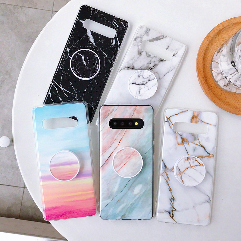 For Samsung <font><b>Galaxy</b></font> S10 Case Marble Phone Case For Samsung S10e <font><b>S</b></font> 10 S9 S8 Plus S7 Edge Note <font><b>9</b></font> 8 Cover Stand Holder Silicon Coque image