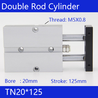 Free Shipping 20mm Bore 125mm Stroke Compact Air Cylinders TN20X125 Dual Action Air Pneumatic Cylinder