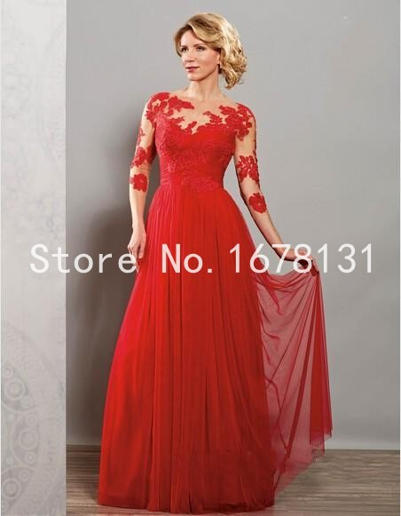 2017 Hot Mother S Gowns Of The Bride Dresses Y Groom Lace Long Red Chiffon Evening Dress Ff487 In