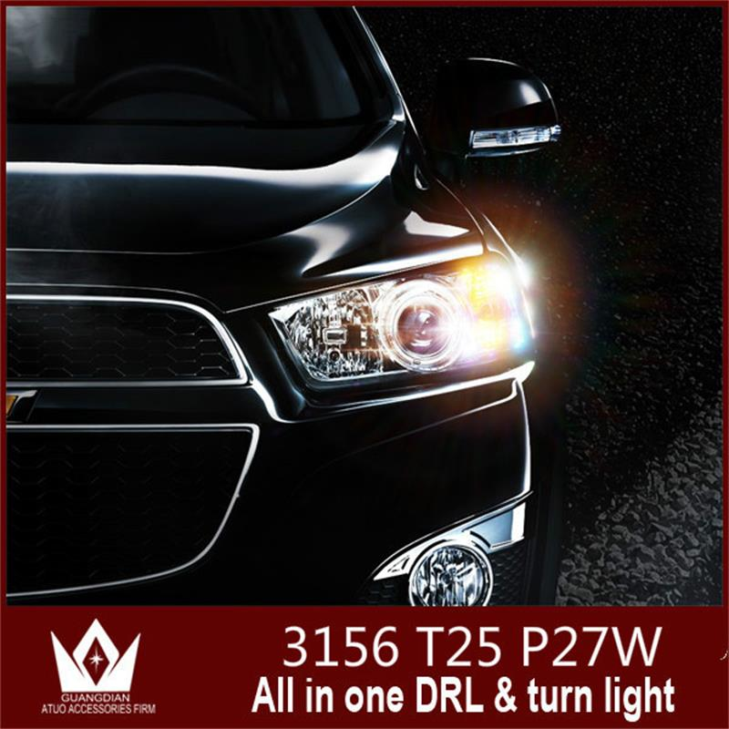 GuangDian car Turn Signal Light and daytime running light lamp Bulb white Switchback Bulbs Auto led drl 3156 P27W T25 For Ford 3156 12w 600lm osram 4 smd 7060 led white light car bulb dc 12v