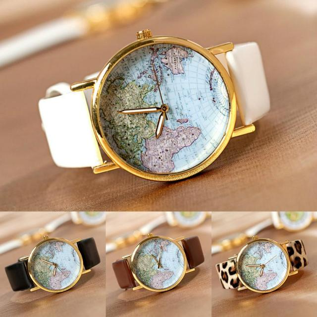 new women men vintage earth world map watch alloy analog quartz leather wrist watches gifts high