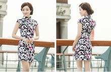 Shanghai Story Floral print cheongsam dress traditional Chinese Style oriental dress Blend Cotton qipao