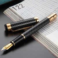 Серая перьевая ручка HERO 768 из углеродного волокна с золотым зажимом, перьевая ручка с тонким наконечником иридия 0,5 мм, модная ручка для пись...