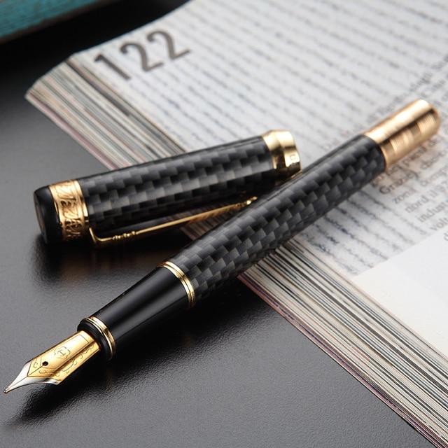 HERO 768 Carbon Fiber Grey Fountain Pen with Golden Clip Iridium Fine Nib 0.5mm Fashion Writing Ink Pen for Office Gift Business