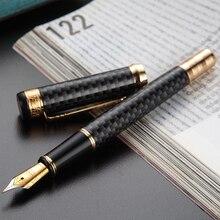 HERO 768 pluma estilográfica de fibra de carbono, color gris, con Clip dorado, Punta fina de iridio, bolígrafo tinta escribir de moda de 0,5mm para regalo de oficina y negocios