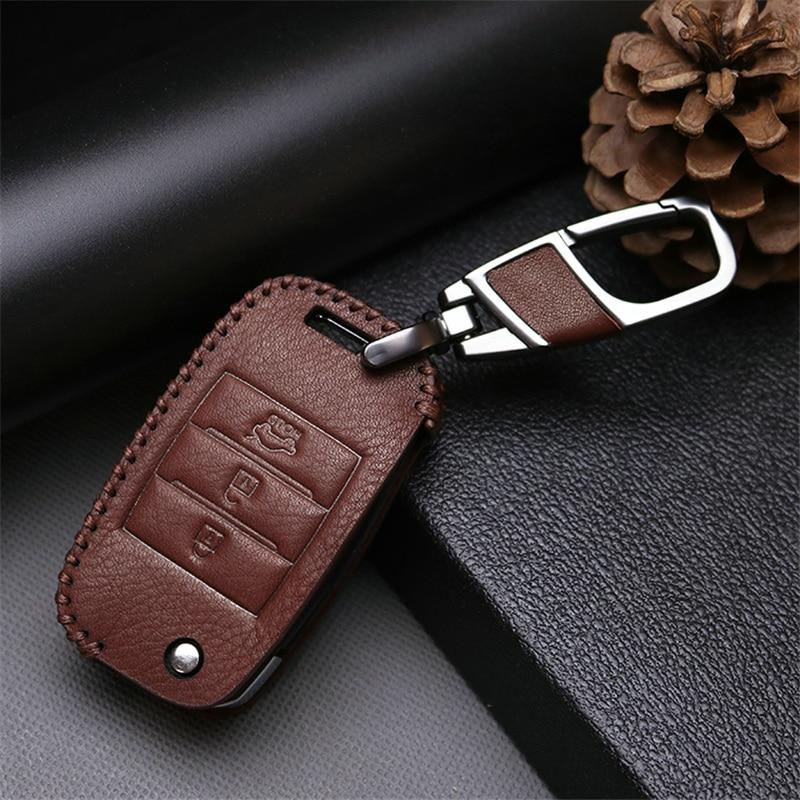 Cubierta de la caja de la llave del coche del cuero genuino para Kia - Accesorios de interior de coche - foto 4