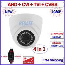 1080P 720P 4in1 dome camera 2MP 1MP AHD HDCVI HDTVI CVBS security camera with 3.6mm Lens, 18pcs LEDs, F22 Sensor, OSD, DNR, UTC