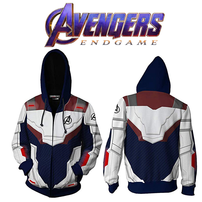 Avengers Endgame Realm Cosplay Hoodies 3D Quantum Realm Zipper Hoodie Hooded Jacket Superhero Costumes Unisex Coat