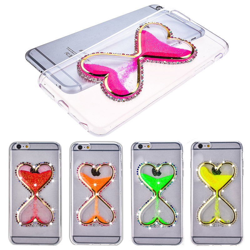 Liquid Luminous Quicksand Hourglass Cover Case for iphone 6 / 6S plus 6S 6 Soft Transparent TPU Shell Bling Diamond Rhinestone