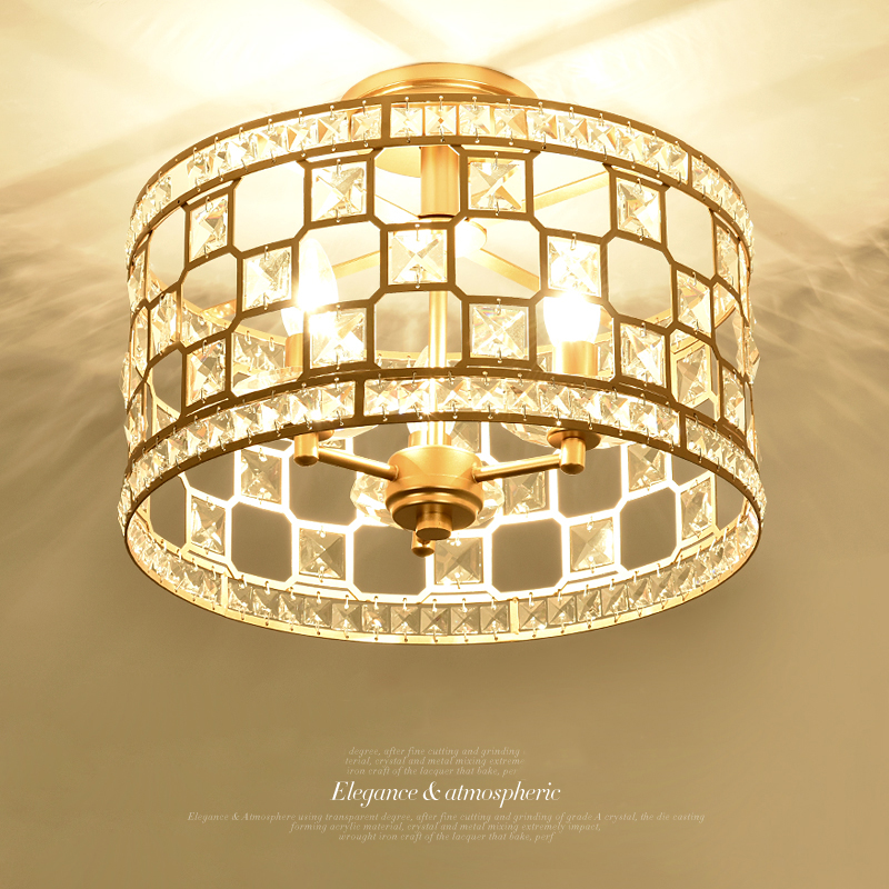 American ceiling lamp Living room Bedroom lamp LED simple Modern bedroom round Crystal Ceiling Lamp European style aisle lights a1 master bedroom living room lamp crystal pendant lights dining room lamp european style dual use fashion pendant lamps