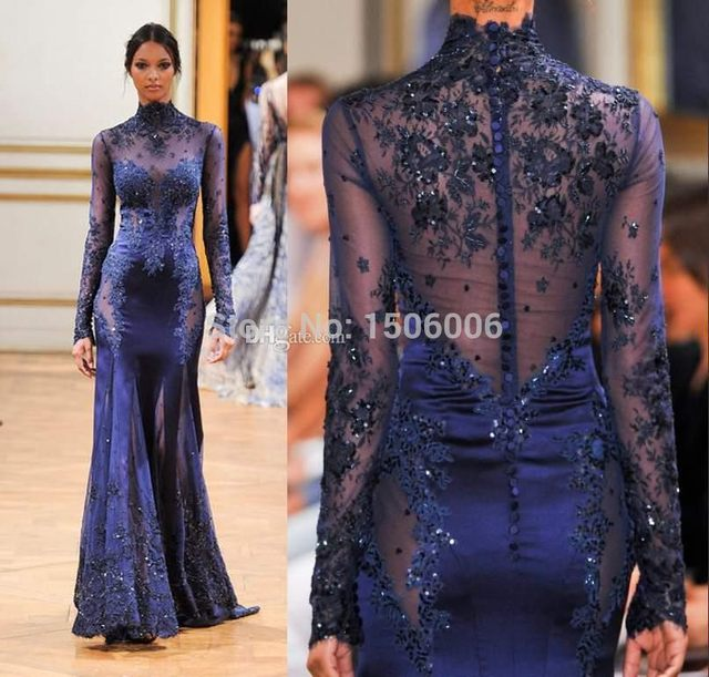 2016 Celebrity Gowns In sales Sheer Back Sexy A-LineFull Sleeves Dress High Neck Lace Formal Evening Dresses 2326