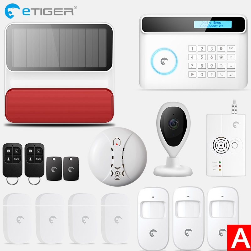 Etiger Wireless GSM Alarm System Android ios APP Control home Security Alarm System with PIR motion sensor IP camera etiger s3b etiger gsm sms alarm system solar power siren indoor siren ip camera super kit as same as chuango g5