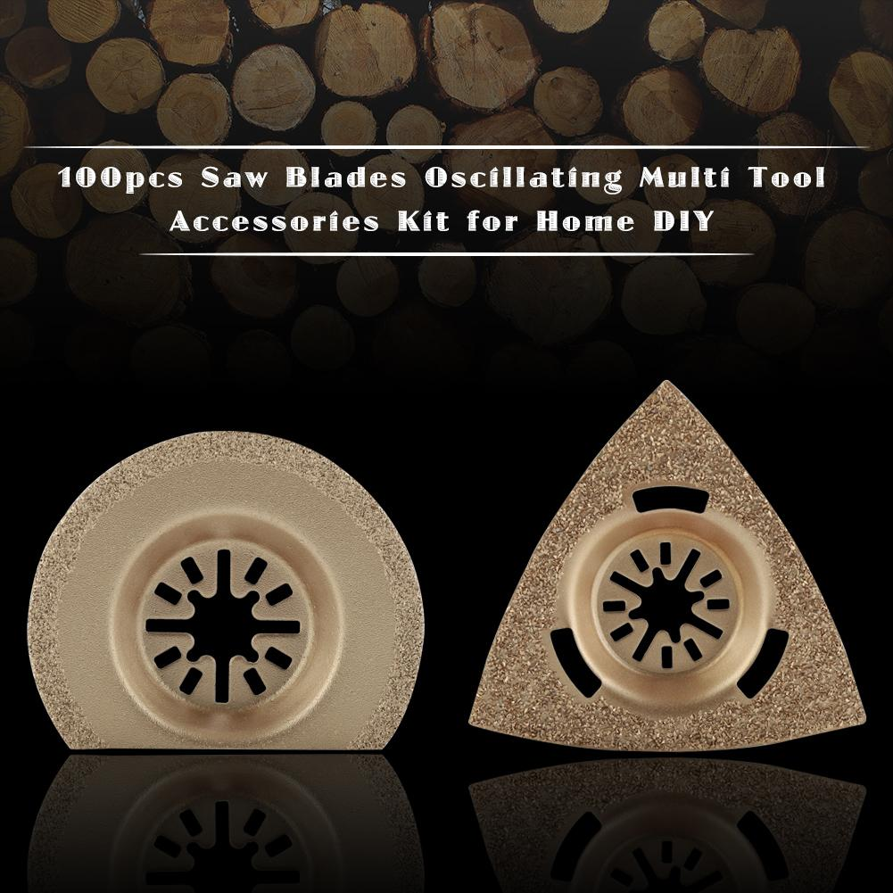 100pcs DIY Saw Blades Oscillating Multi Tool Accessories Kit for Home 9