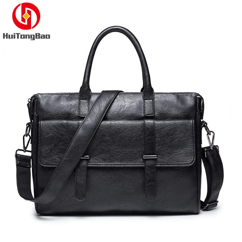 Office Laptop Bags For Men High Quality PU Leather Handbag Leisure Crossbody Business Computer Messenger Bag Luxury Handbags