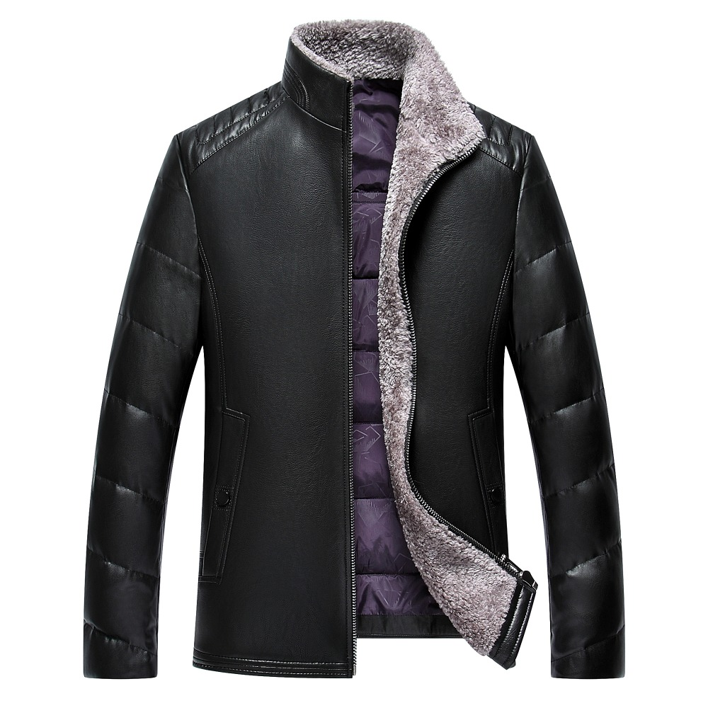 Stand collar skin down jacket men slim 2016 winter leather leather men high quality pu down