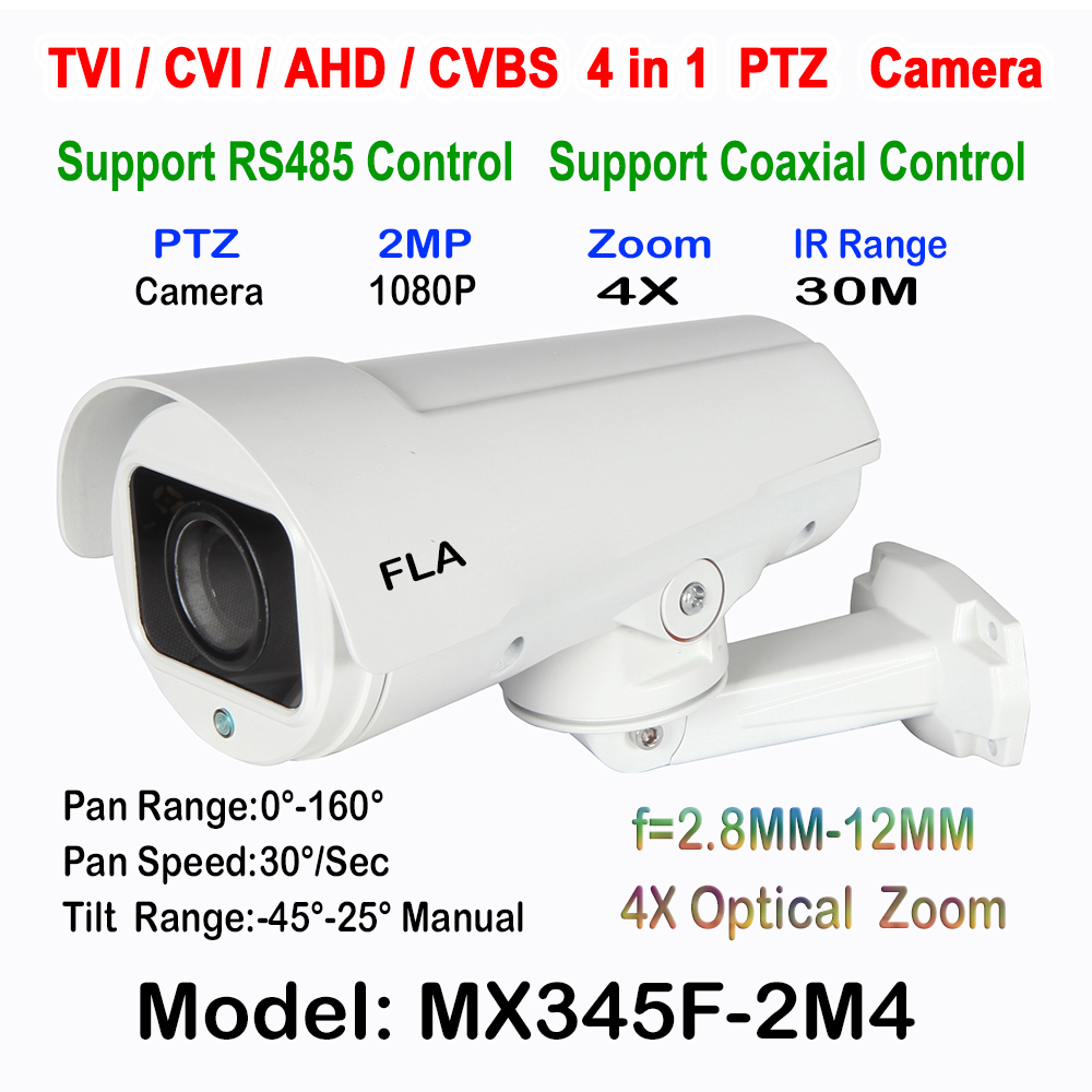 2MP Smart HD Security Day Night Bullet TVI CVI AHD CVBS PTZ Camera 4X 10x  Auto Zoom Middle Speed Sony Chipset IP66 Waterproof ccdcam 4in1 ahd cvi tvi cvbs 2mp bullet cctv ptz camera 1080p 4x 10x optical zoom outdoor weatherproof night vision ir 30m