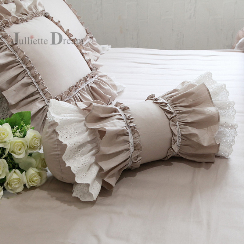 Super Beautiful Roll Cushion Cute Decorative Bed Pillow Ruffle Lace Candy Cushion Cake Layer Skirt Lumbar Pillow Sofa Hand Rests
