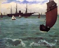Art Painting by Edouard Manet Fishing boat coming in before the wind (The Kearsarge in Boulogne) High Quality Hand painted