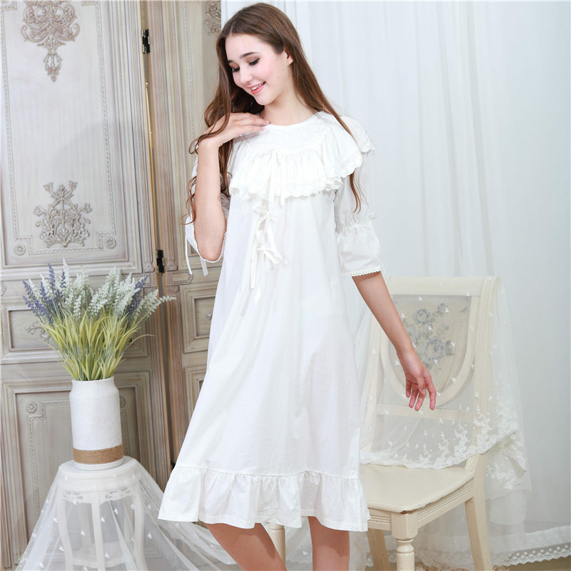 Victorian Autumn Sleepwear Women Plus Size Nightgown Long Sleep Shirt Slash  Ruffle White Lace Cotton Night Wear Home Dress T317-in Nightgowns    Sleepshirts ... 5d3cf284a