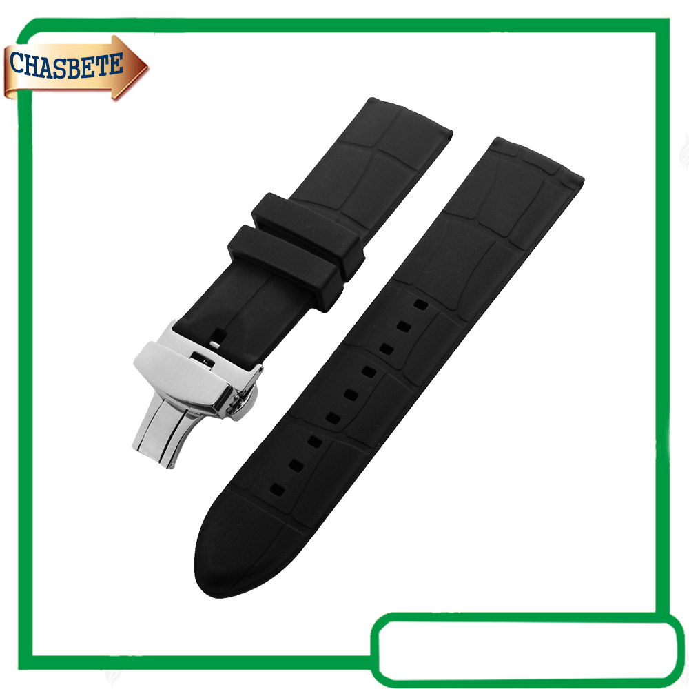 Silicone Rubber Watch Band for <font><b>Breitling</b></font> Watchband 24mm Butterfly Buckle Resin <font><b>Strap</b></font> Belt Wrist Loop Bracelet Black + Pin + Tool image