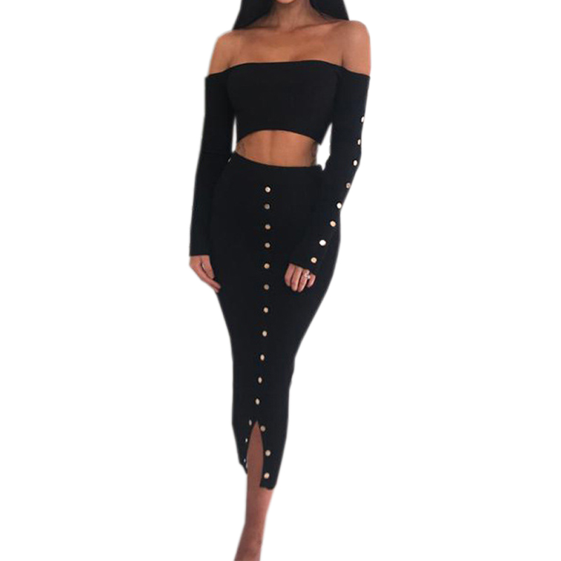 Skinny Sexy Knitted Women's Sets Slash Neck Bodycon Crop Top Buttons Split Pencil Skirt Winter Party Two Piece Set Outfits GV927