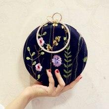 Angelatracy 2019 New Arrival Embroidery Floral Flower Circular Bag Chain Wrist Bag Butterfly Women Girl Shoulder Crossbody Bags цены