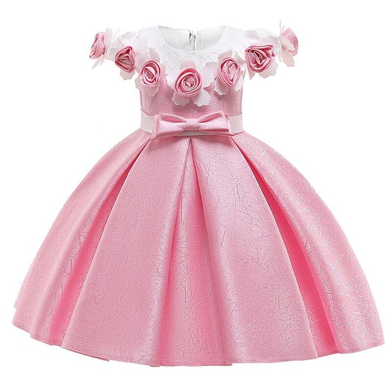 Rosa flor menina vestido de casamento para crianças vestido da menina do bebê 3-10 anos menina vestido de aniversário vestidos de festa princes l1851