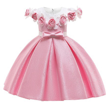 Rose Flower girl wedding dress for children baby girl dress 3-10 years  girl birthday dress Vestido party princes vestido L1851 недорого