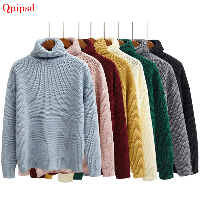 Women Sweater & Pullover 2020 Autumn Women Solid Color Turtleneck Loose Thicken Retro Sweater Female Knitted Jumper And Pullover