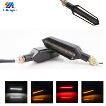 1sets(2pcs) 3014 12V DC DRL+Yellow Flow-Type Streamer Motorcycle E-bike LED Bulb Turn Signal Light Head DRL 8000K 120 Lm