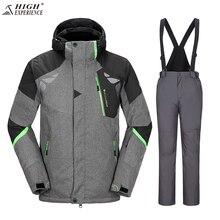 High Experience 2017 Для мужчин; лыжный костюм Водонепроницаемый ветрозащитная лыжная куртка + Мотобрюки утепленная теплая одежда Брюки для девочек Для мужчин сноуборд Маунти