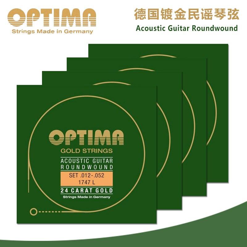 Livraison gratuite Original Optima 24 K cordes en or 1747L ballades pour cordes de guitare acoustique fabriquées en allemagne