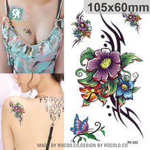 Harajuku Waterproof Temporary Tattoos For Lady Women Sexy 3d Dream Flower Butterfly Design Tattoo Sticker RC2222