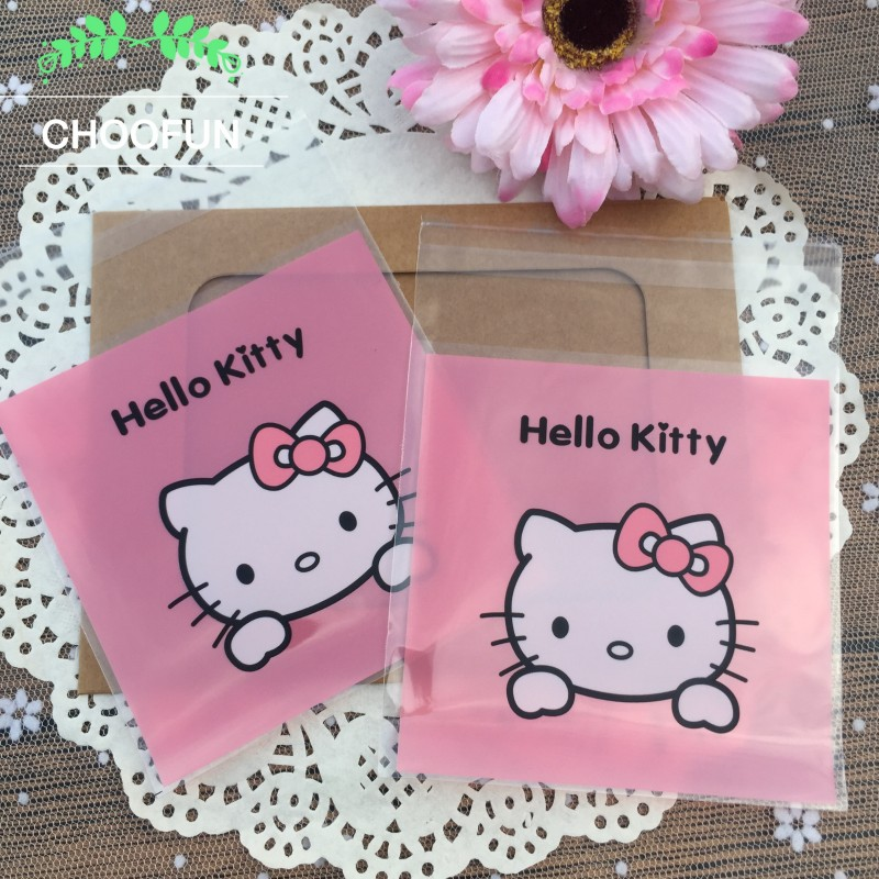 100PCS Cute Pink Hello Kitty Print OPP Self Adhesive plastic bags for Cookie Baking package Party Candy and Gift Bags BZ041