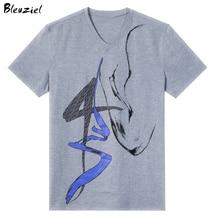Bleuziel 2017 New Casual Tshirt Fashion Strong Muscle Printed T Shirt Men Short Sleeved Camisetas Slim Fit Tops & Tees