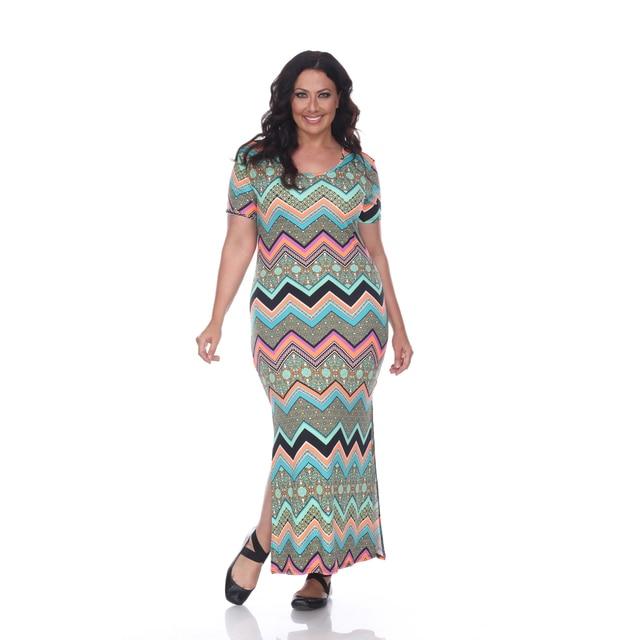 Plus Size Jasmine Maxi Dress - Green Orange