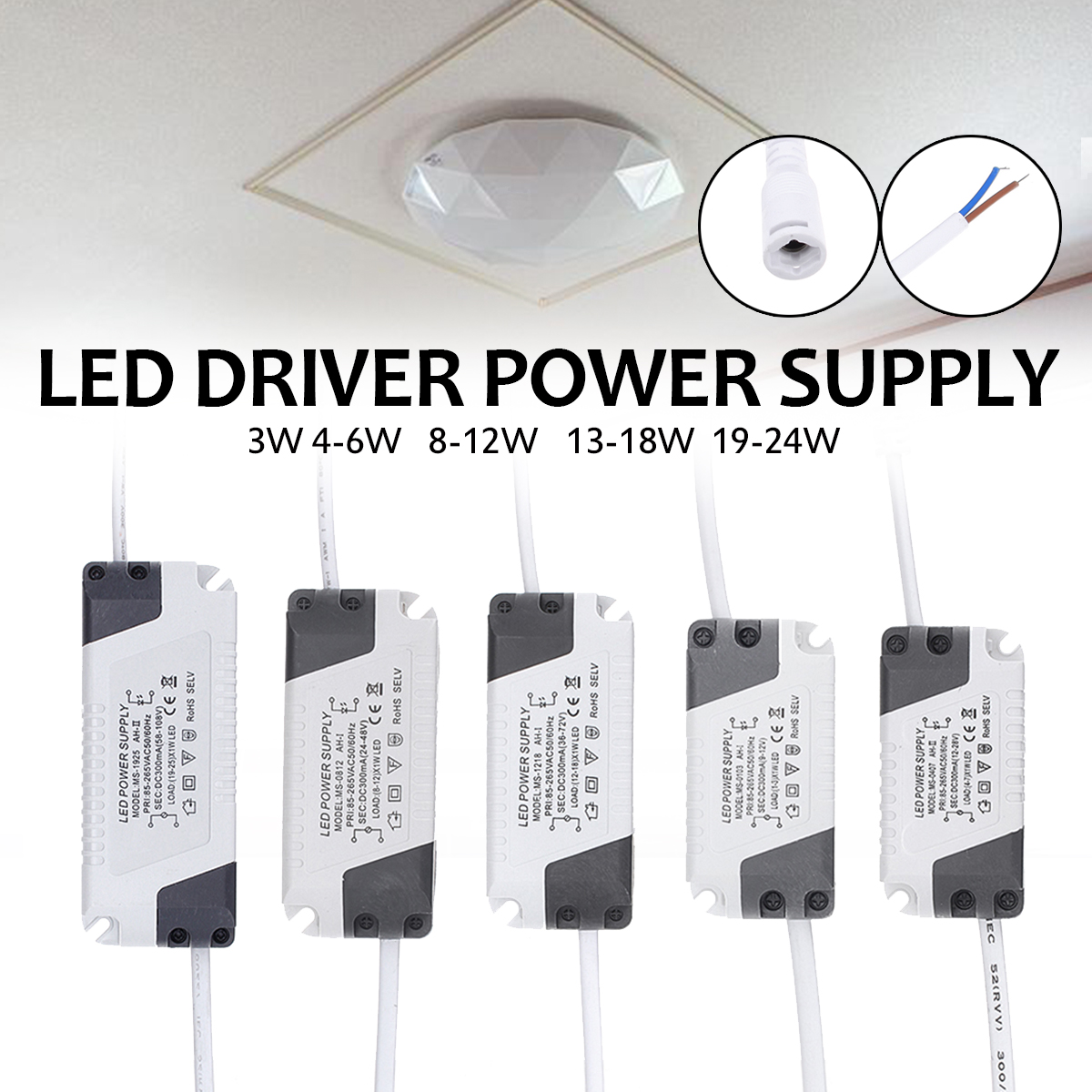 Led Driver 300ma 85 265v Light Transformer Constant Current Power Drives Two 3 Watt Ledselectronics Project Circuts Suitable For Lights Ceiling And Other Indoor Projects Etc