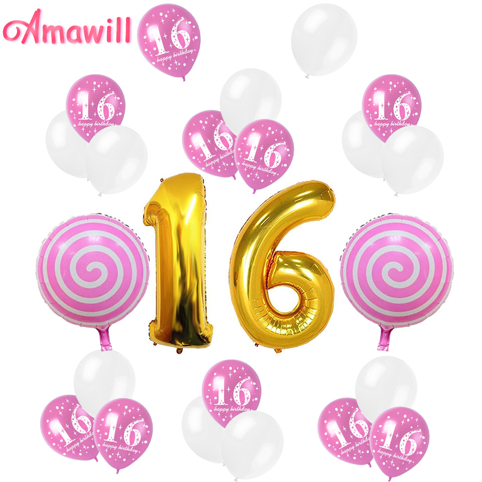amawill sweet girl 16th birthday party decoration kit 32inch number