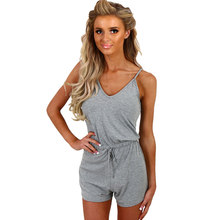725cf3276fe Women s Spaghetti Strap Sleeveless Playsuits Casual Solid Gray White Black  V-neck Jumpsuits Summer Shorts Tunic Rompers Overalls