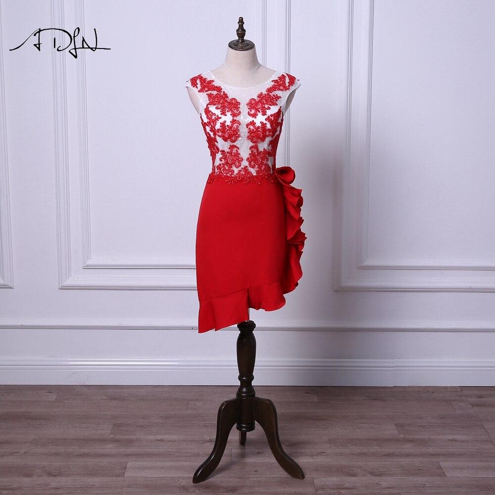 c2d9ed3a345 ADLN классический кружево коктейльные платья Короткие Русалка Вечерние  вечернее платье Scoop белый и красный мини вечерняя