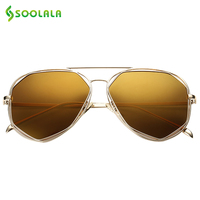 SOOLALA Vintage Oval Female Hexagon Sunglasses Hot Selling Women Brand Designer Retro Ldies Feminine Sun Glasses