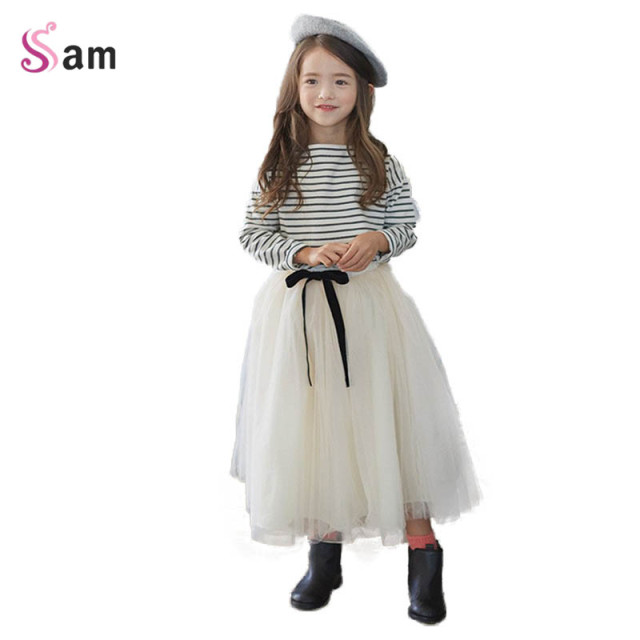 2017 New Korean Child Clothing Teenager Kids Clothes Striped Full Sleeved T Shirt + Long Skirt 2 Piece Sets Age 3-14 big girls