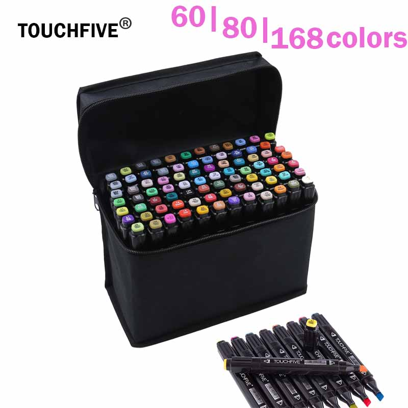 TouchFive Marker 60/80/168 Color Alcoholic oily based ink Marker Set Best For Manga Dual Headed Art Sketch Markers brush pen