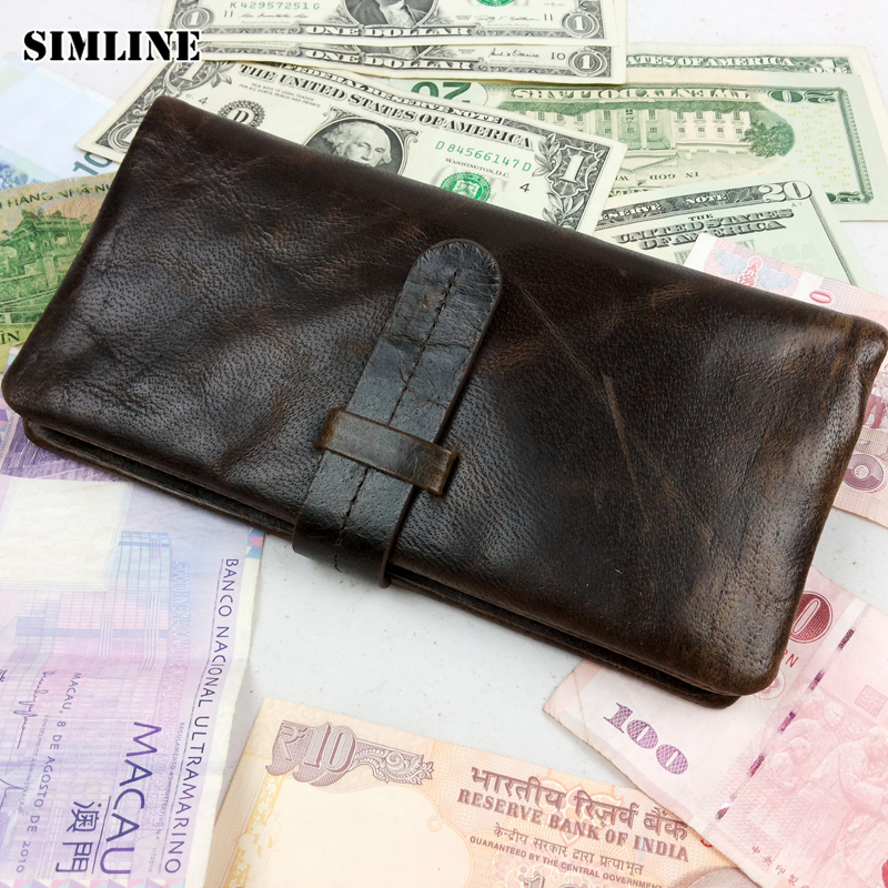 Luxury Vintage Designer High Quality 100% Genuine Cowhide Leather Men Long Clutch Wallet Wallets With Coin Pocket Male Carteira men genuine leather wallet 2016 dollar price luxury famous designer high quality money clip men wallet