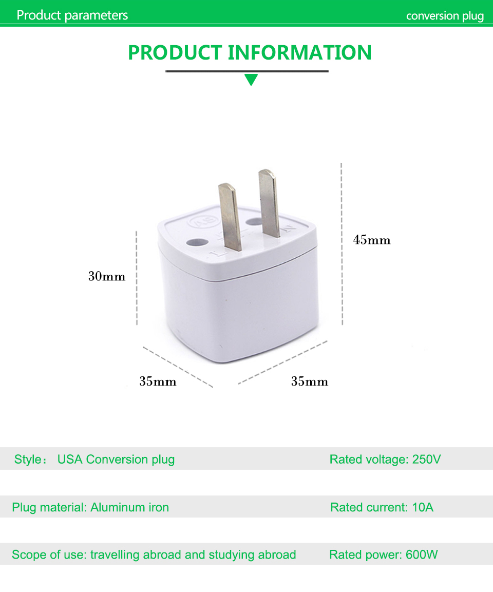 1PC New Arrivals EU UK AU to US Plugs adapter Power Converter Plugs 2 Pin Socket EU to America Travel Charger Adapter Converter (5)