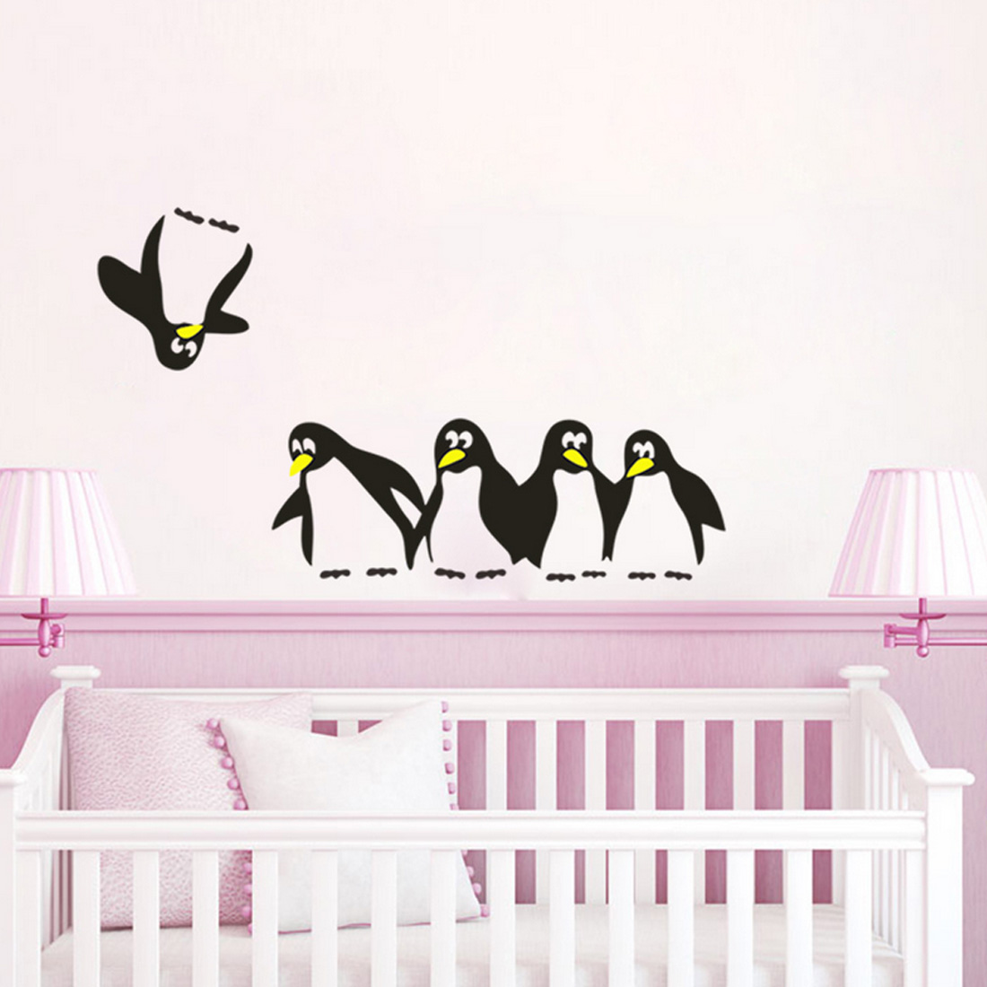 1PC Cute Penguin Funny Kitchen Fridge Sticker DIY Decals Dining Room Kitchen Decorative Wall Stickers Home