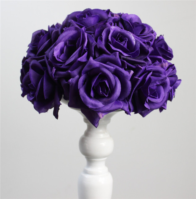 dark purple Silk Rose Flower Ball 10pcs 15cm Diameter Kissing Ball