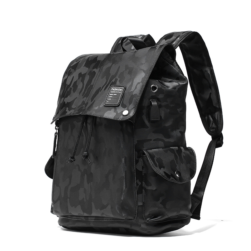 2018 New Preppy Style Men's PU Leather Backpack Black Camouflage Backpack Schoolbag Male Leisure Travel Bags Large Capacity Bag